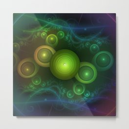 Retrotacular Rainbow Dots in a Fractal Microscope Metal Print