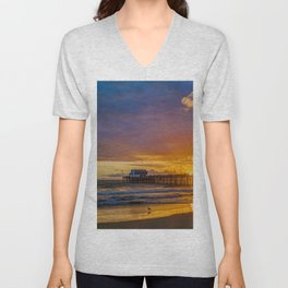 Lone Seagull at Sunset - Newport Pier Unisex V-Neck