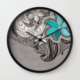 Teal Hawaiian Floral Tattoo Design Wall Clock