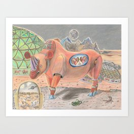 Mechanical Rhino, Crimson Pyramid Rams Art Print
