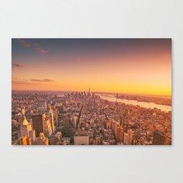 New York City Sunset Skyline Canvas Print