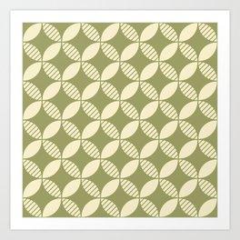 Mid Century Modern Geometric Flower Pattern Olive and Cream 2 Art Print