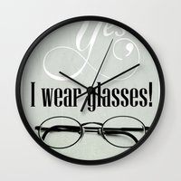 glasses Wall Clocks featuring Glasses by Julia Dávila-Lampe
