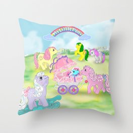 g1 my little pony backcard inspired collage Throw Pillow