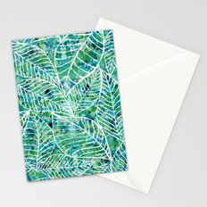 White and green leaves Stationery Cards