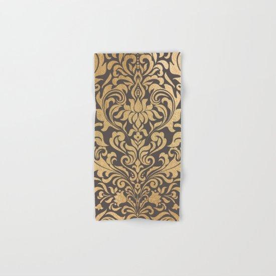 Gold swirls damask #9 Hand & Bath Towel