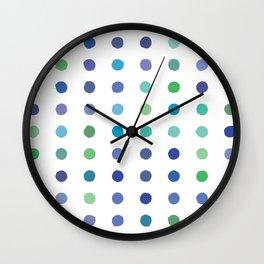 Circular Dalmatian Spots - Ocean #472 Wall Clock
