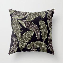 palm leaves black Throw Pillow