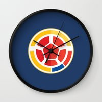 colombia Wall Clocks featuring WORLDCUP IS COMING! - COLOMBIA by Andres Corredor
