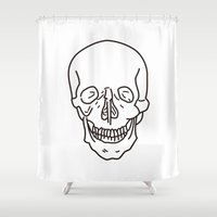 skeleton Shower Curtains featuring Skeleton by FACTORIE