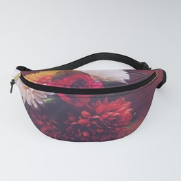 red rose and yellow white and brown flower with wood background Fanny Pack