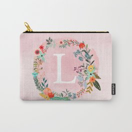 Flower Wreath with Personalized Monogram Initial Letter L on Pink Watercolor Paper Texture Artwork Carry-All Pouch
