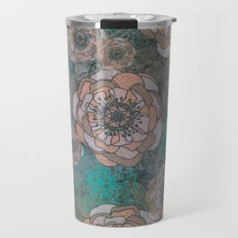 Peony Flowers Peach and Green Travel Mug