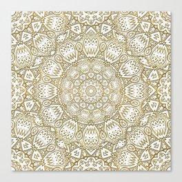 Golden Mandala in Cream Colored Background Canvas Print