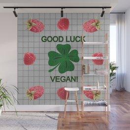 Raspberry berries for good luck vegan Wall Mural