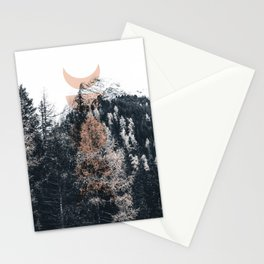Peach Moon Phases Forest Stationery Cards