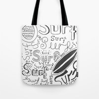 surf Tote Bags featuring Surf by Made by Tom