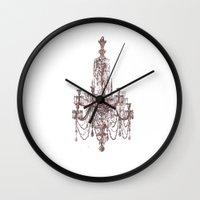 chandelier Wall Clocks featuring Chandelier by Indraart