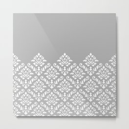 Damask Baroque Part Pattern White on Grey Metal Print