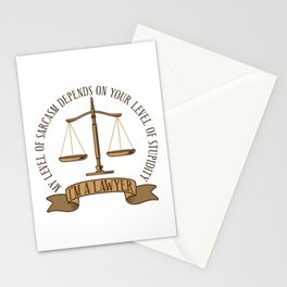 I'm A Lawyer My Level Of Sarcasm Gift Stationery Cards