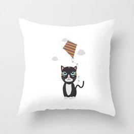 Cat with Kite Throw Pillow