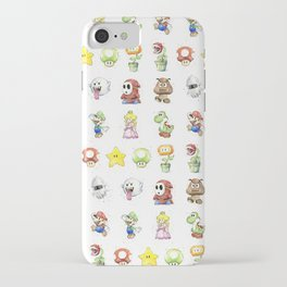 Mario Characters Watercolor Geek Gaming Videogame iPhone Case