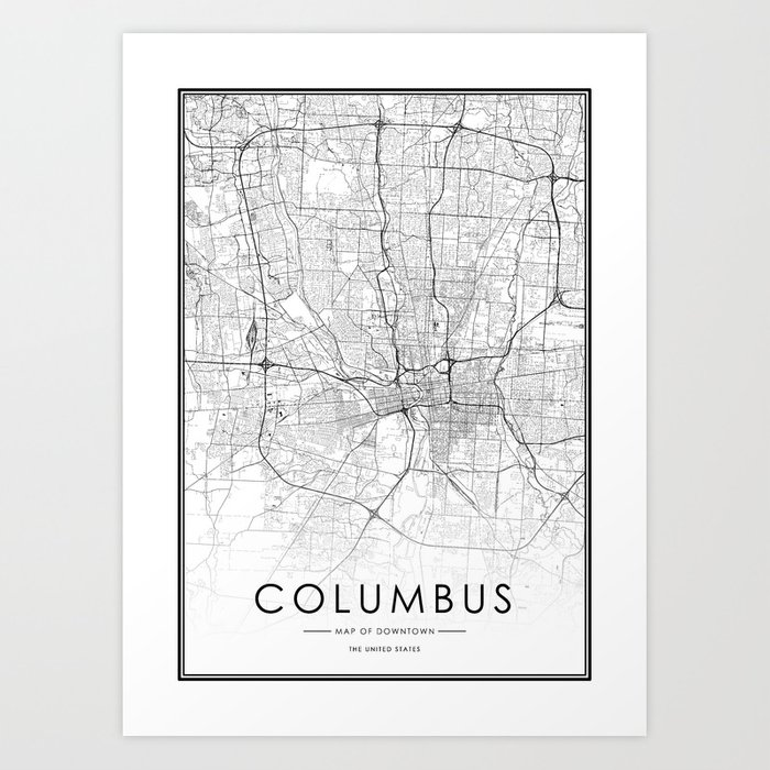 Columbus City Map United States White and Black Art Print by victorialyu