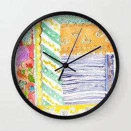 Kantha textile watercolor Wall Clock