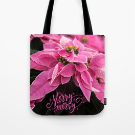 Merry Merry Poinsettia Tote Bag