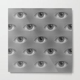 Pop-Art Black And White Eyes Pattern Metal Print