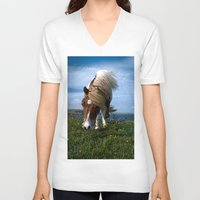 pony V-neck T-shirts featuring Shetland pony by Paul J Davis Photography