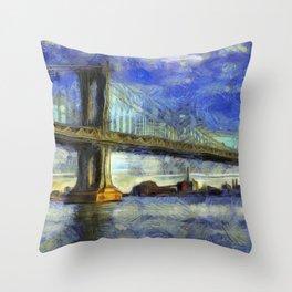 Manhattan Bridge New York Art Throw Pillow