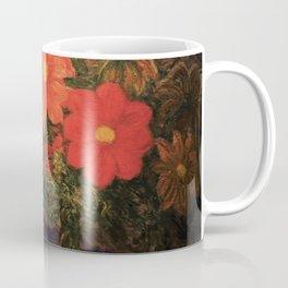 'Flowers in Vase, Night' still life painting by Gaetano Previati Coffee Mug