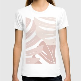 Pink monstera leaves T-shirt