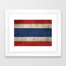 Old and Worn Distressed Vintage Flag of Thailand Framed Art Print