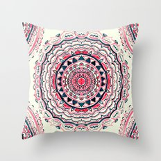 Supernova-In Pink, Red, Cream, and navy Throw Pillow