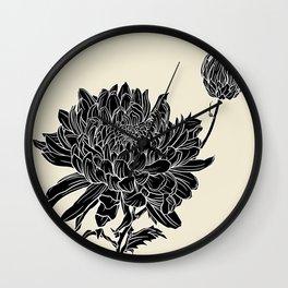 Black Chrysanthemum Wall Clock