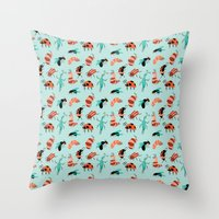 bugs Throw Pillows featuring Bugs by JenHoney