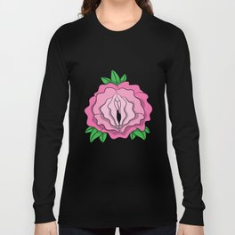 Womens Rose Vagina Womens Shirt Pussy Flower Pussies Vag Puss Gift Long Sleeve T-shirt