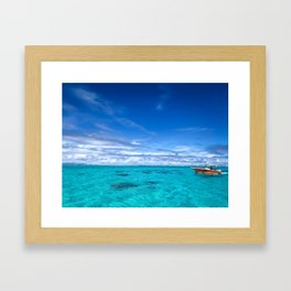South Pacific Crystal Ocean Dreamscape with Boat Framed Art Print