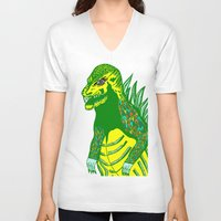 dino V-neck T-shirts featuring Dino by intermittentdreamscapes