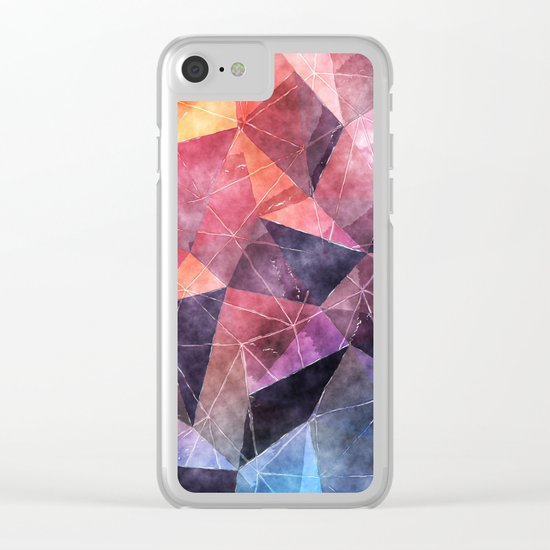 In the deep of the earth- Abstract colorful triangle watercolor pattern Clear iPhone Case