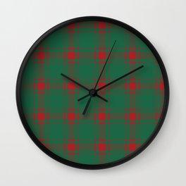 Minimalist Middleton Tartan in Red + Green Wall Clock