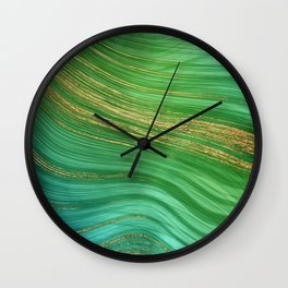 Green Mermaid Glamour Marble With Gold Veins Wall Clock