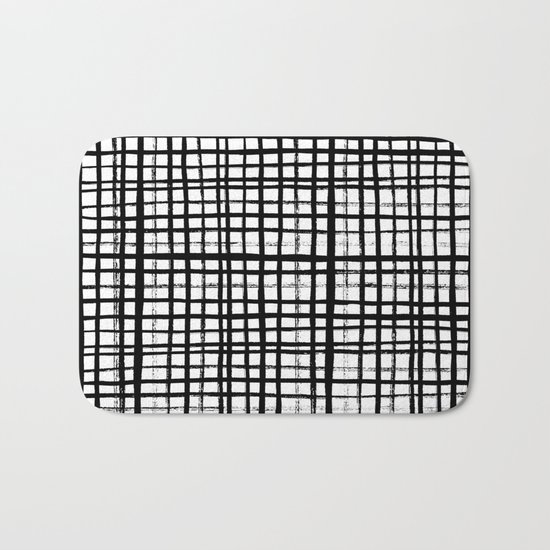 Essie - Grid, Black and White, BW, grid, square, paint, design, art Bath Mat