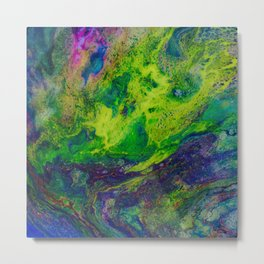 The Fight of Yellow and Violet-RESIN ART Metal Print