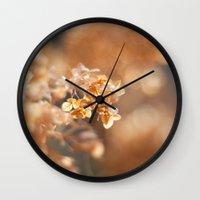 gold glitter Wall Clocks featuring Gold Glitter by Katie Kirkland Photography