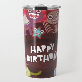 Happy birthday Funny monsters card Travel Mug