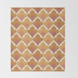 Orange Flower Pattern Throw Blanket
