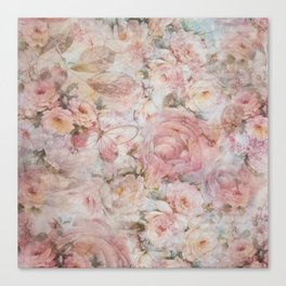 Vintage elegant blush pink collage floral typography Canvas Print